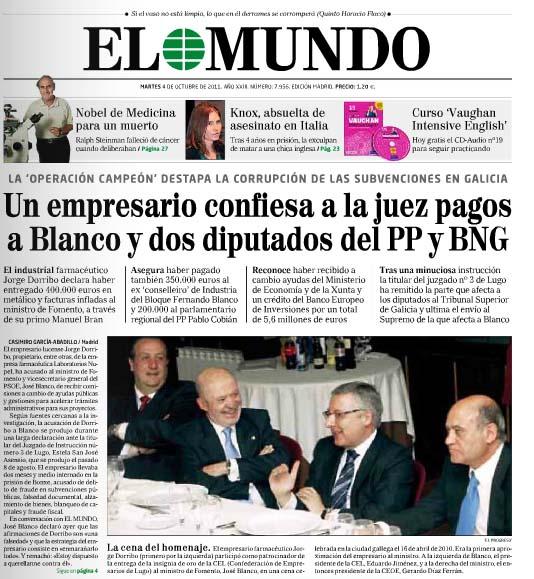 El Mundo anuncia el Caso Blanco